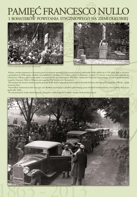 Tablica z wystawy poświęconej pamięci płk. F. Nullo w olkuskiej bibliotece. Na zdjęciu u dołu zdjęcie z rajdu Automobilklubu Bergamo przez Olkusz w 1931 roku.