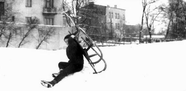 13. Widok łąk kolejowych zimą, początek lat 60-tych. Fot. Jacek  Żołobko, ze zbiorów Piotra Nogiecia.