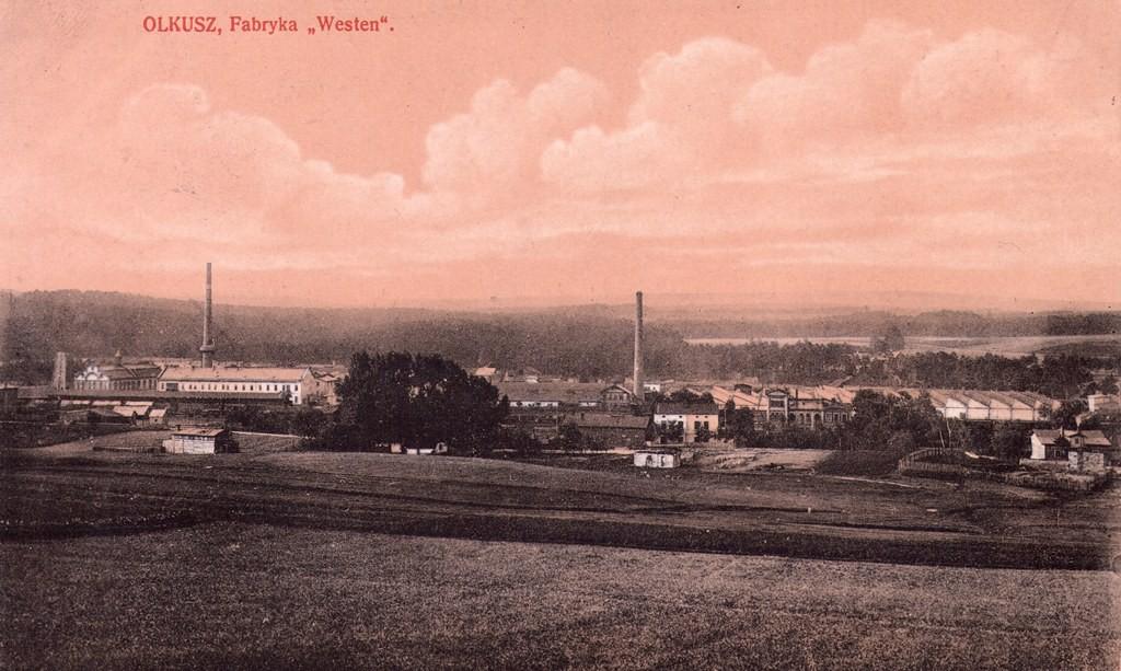 4. Panorama Olkusza z Fabryką Westena na pierwszym planie.  Fot. Pocztówka ze zbiorów Marka Piotrowskiego.