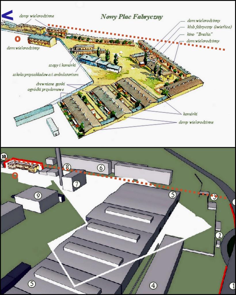 1. U góry Nowy Plac Fabryczny, na dole miejsce Placu dzisiaj. Proj.  Piotr Nogieć.