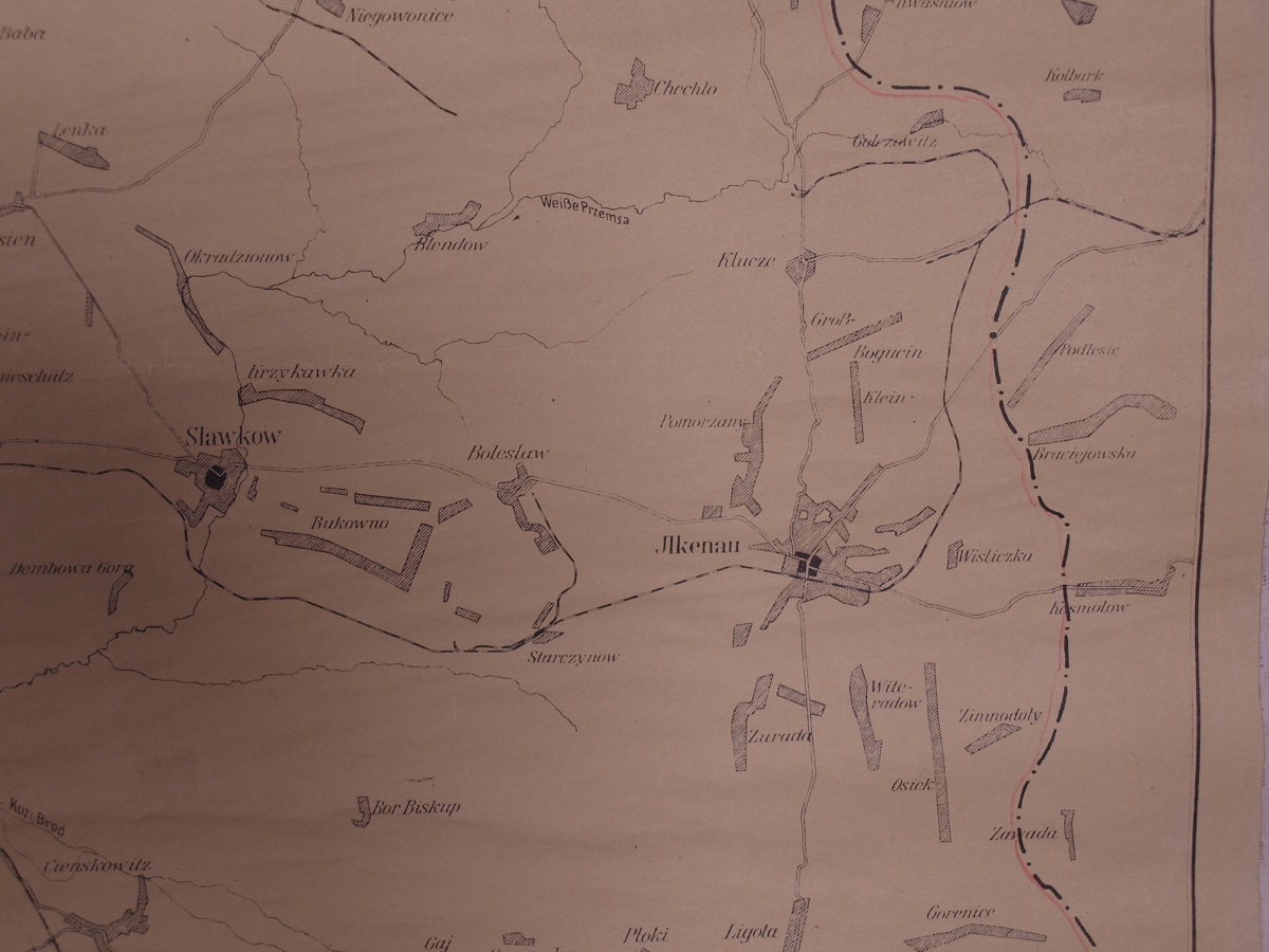 2. Przebieg granicy między Rzeszą a Generalną Gubernią. Ze zbiorów archiwum Państwowego Muzeum Auschwitz-Birkenau w Oświęcimiu. Fot. Adam Cyra.