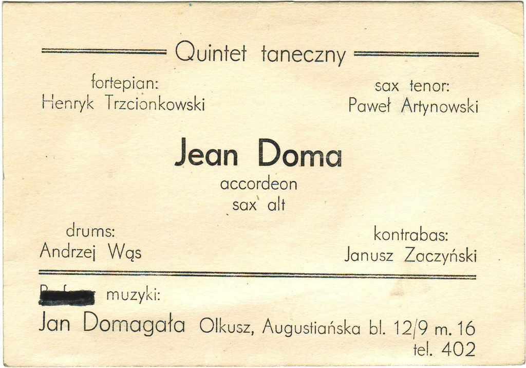 14. Skład Osobowy zespołu Jean Doma. Fot. Ze zbioru Mieczysławy i Jana Domagałów.