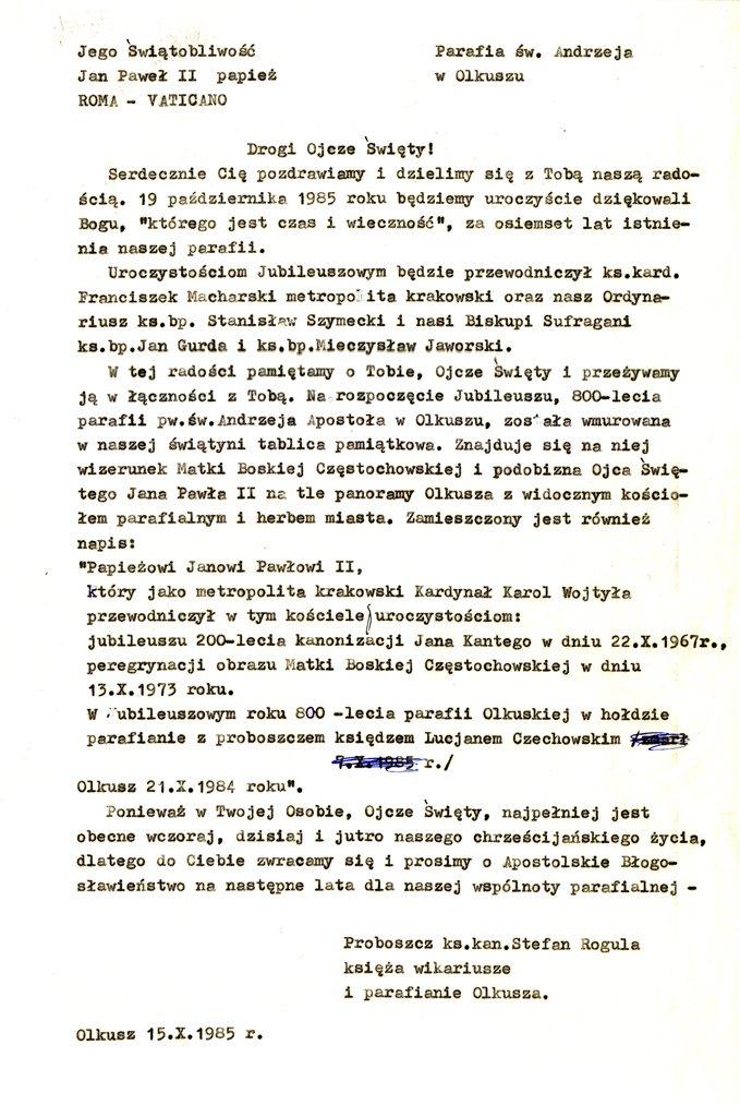 17. List do papieża Jana Pawła II z okazji 800-lecia parafii olkuskiej. 15.10.1985. Fot. ze zbiorów Parafii pw. św. Andrzeja Apostoła w Olkuszu.