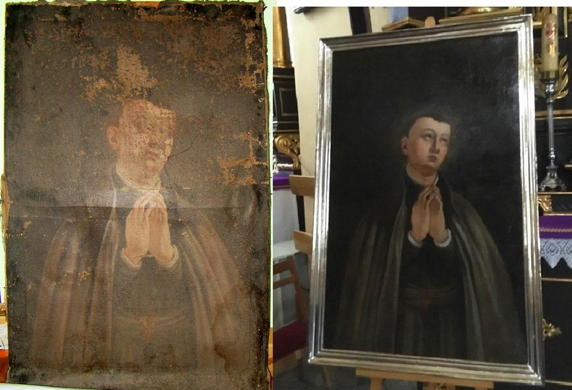 obraz St. Kostka przed i po renowacji