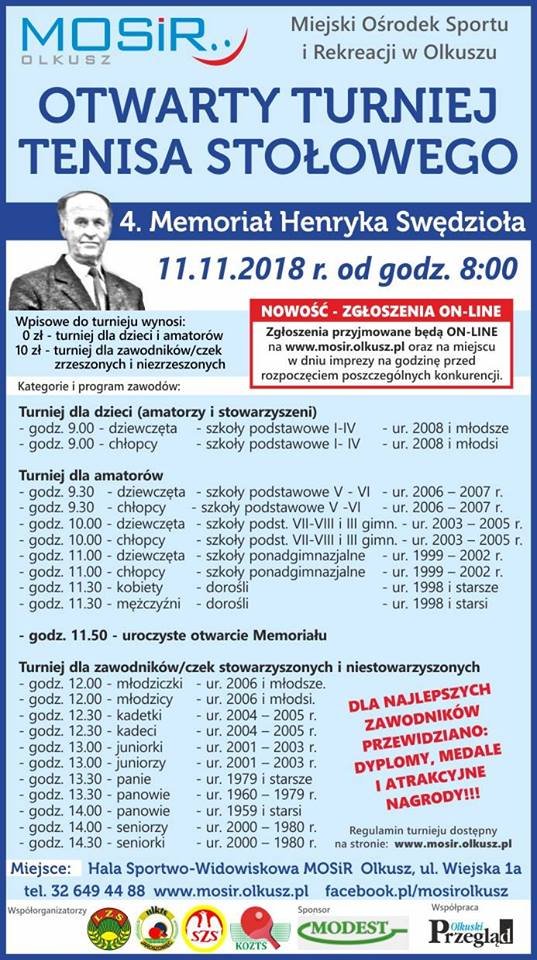 mosir turniej tenisa 11 listopada