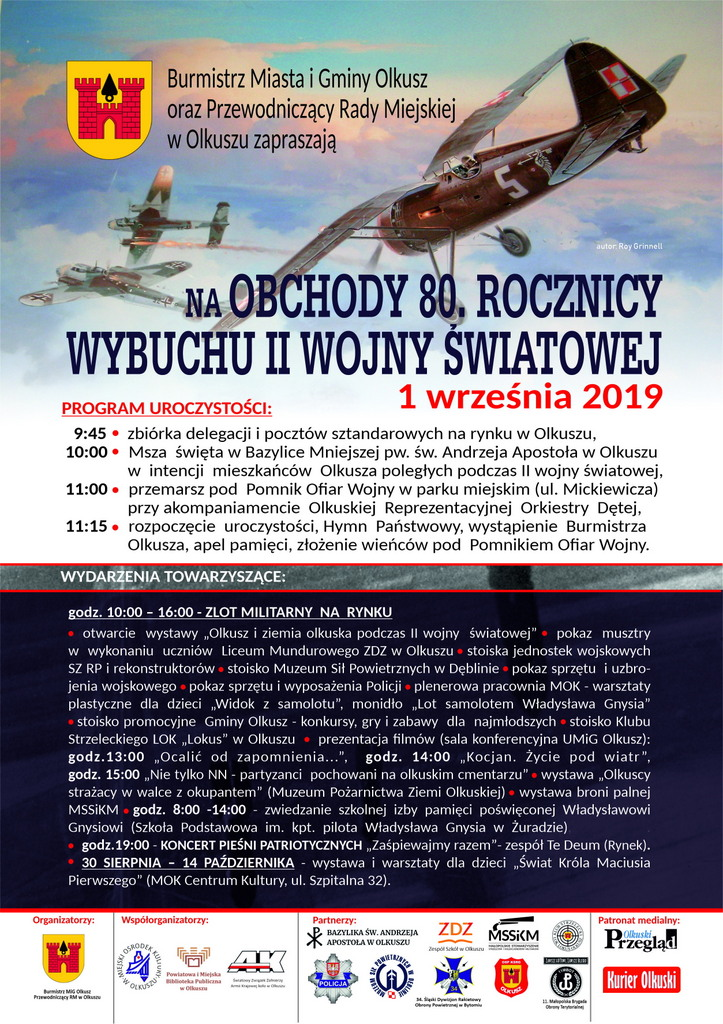 plakat 80 rocznica wybuchu wojny olkusz